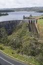 Road and Dam, Myponga Reservoir, SA - Portrait Orientation Royalty Free Stock Photo