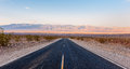 The road in death valley at sunsat Royalty Free Stock Images