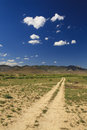 Road in the desert receding into cloud Royalty Free Stock Photos
