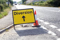 Road diversion signs in rural somerset england Stock Photo