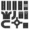 Road element set with different traffic signs curves and lanes Stock Photography