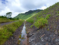 Road on an embankment at a reservoir of fresh water mauritius the Royalty Free Stock Photography