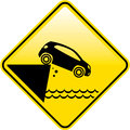 Road ends Sign Cliff fall in the water Danger Road sign vector