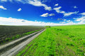 Road in field on and blue sky Royalty Free Stock Images