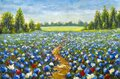Road through the flower field paintings monet painting claude impressionism Royalty Free Stock Photo