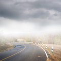Road in forrest and rainclouds asphalt Royalty Free Stock Images