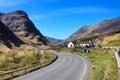 Road through the Scottish Highlands, Glencoe, UK Royalty Free Stock Photo