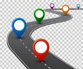 Road with GPS navigation. Car road, street, highway roadmap infographics – vector Royalty Free Stock Photo
