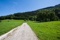 Road through green pasture in haute savoie france Royalty Free Stock Photography
