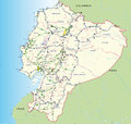 Road and hydro graphical map of Ecuador with the main roads, provincial boundaries, provincial capitals and river names - Year 200 Royalty Free Stock Photo