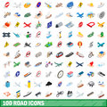 100 road icons set, isometric 3d style