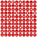 100 road icons set red Royalty Free Stock Photo