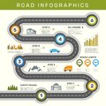 Road infographic. Timeline with point map business workflow graphic vector template Royalty Free Stock Photo