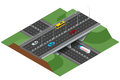 Road infographics with highways with city transport. Flat 3d isometric concept of the city with highways