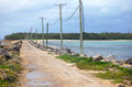 Road between islands rural area in south pacific tonga Stock Photo