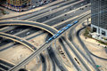 Road junction in dubai two trains and Royalty Free Stock Photography