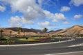 Road junction empty near city yaiza in lanzarote island Royalty Free Stock Photos