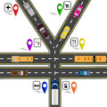 Road junction, a sign resembling the yen, the yuan. Way to the navigator. Humorous image. illustration Royalty Free Stock Photo