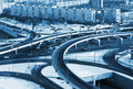 Road junction in the streets of Moscow in winter Stock Photo
