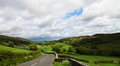 Road in lake district receding through green countryside of national park cumbria england Stock Photo