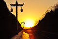 Road lamp at sunset Royalty Free Stock Images