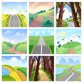 Road landscape vector roadway in forest or way to field lands with grass and trees in countryside illustration journey