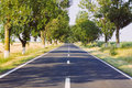 Road leading straight forward in a sunny day Stock Photo