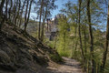 The road leading to the castle leads through forest of eltz Royalty Free Stock Images