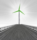 Road leading to one big windmill turbine illustration Stock Photo