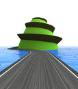 Road leading to the top of green island illustration Royalty Free Stock Photo