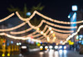 Road lighting blurred photo bokeh decoration at night time Stock Photography