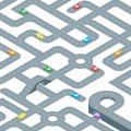 Road Seamless Pattern Background Isometric View. Vector Royalty Free Stock Photo
