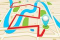 Road map easy to edit vector illustration of highlighted route in Royalty Free Stock Photo