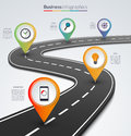 Road map infographic template with 5 pin pointers