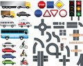 Road map toolkit big set signs markings transport traffic light Royalty Free Stock Photo