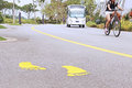 Road markings on asphalt in a beautiful park Royalty Free Stock Image