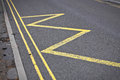 Road markings indicating no stopping or parking Stock Images