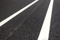 Road markings new asphalt with Royalty Free Stock Image