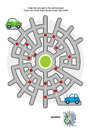 Road maze with green and blue cars Royalty Free Stock Photo