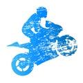 Road motorbike rider. Wheelie
