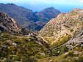 Road in the mountain of majorca very tight switchbacks mountains to sa calobra on northwest coast island rocky terrain Stock Image