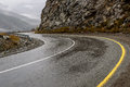 Road mountains fog hairpin curve Royalty Free Stock Photo