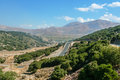 Road in the mountains on the island of crete greece Royalty Free Stock Images