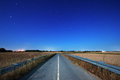 Road at night under moonlight country Royalty Free Stock Photos