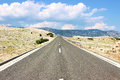 Road open on the island pag croatia Royalty Free Stock Image