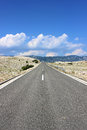 Road open on the island pag croatia Stock Photos