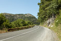 Road panoramic view of nice summer empty through the mountain Stock Photo