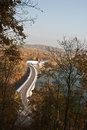 Road on pohl diversion dam during autumn view to near plauen day with clear sky Royalty Free Stock Image