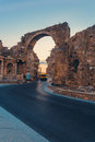 Road through the portal ancient in side turkey at evening Royalty Free Stock Photos