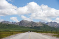 Road in the Qinghai-Tibet Plateroad under blue sky Stock Photography
